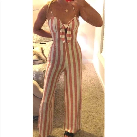 Other - Jumpsuit, coral striped